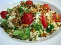 Gemüse-Spätzle mit Frischkäsesauce und Röstzwiebel-Topping