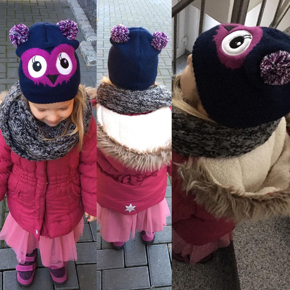 Outfit 1: Eulenmütze und Schal