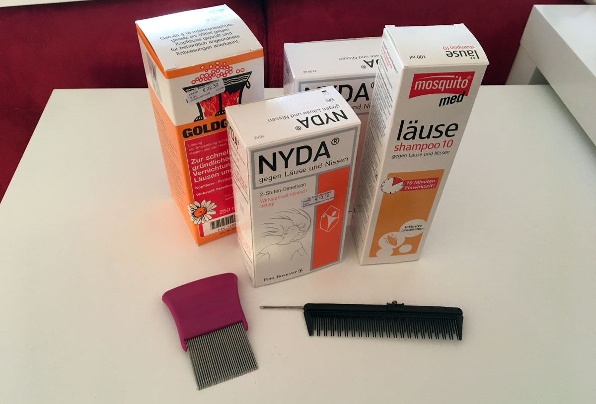 Läusemittel Nyda, Mosquito und Goldgeist