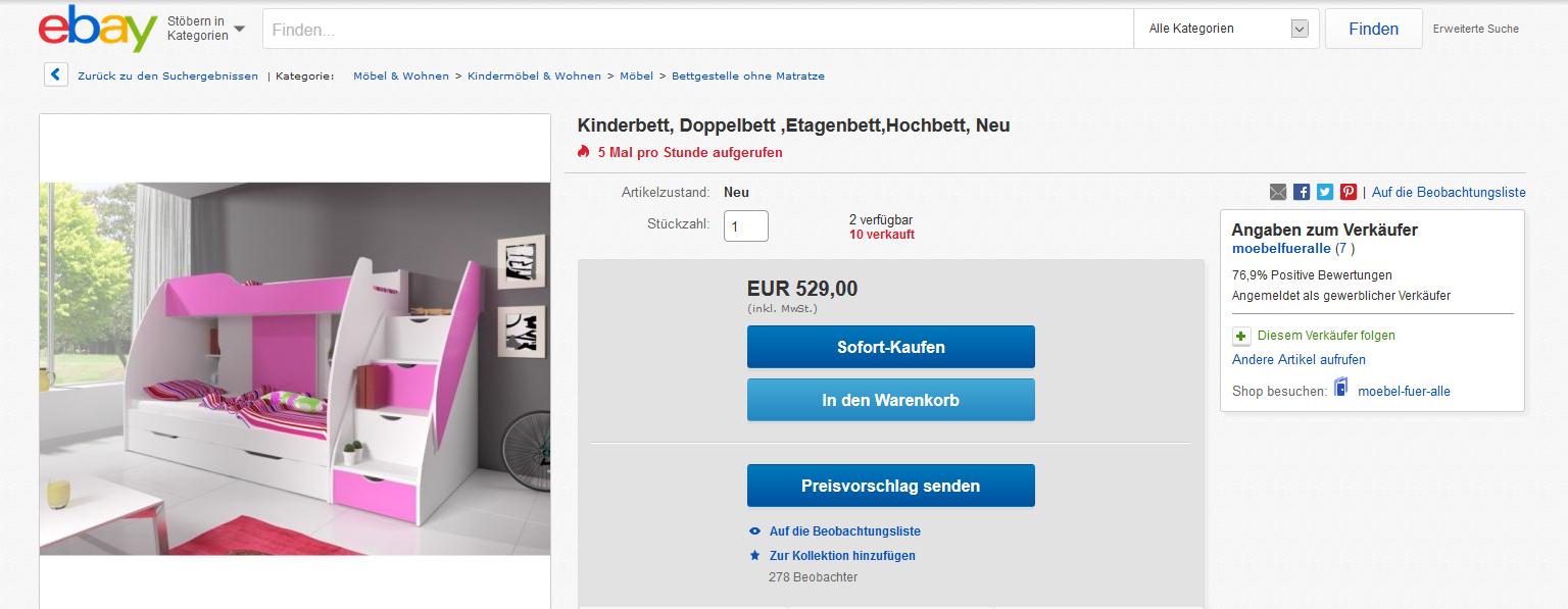 Doppelhochbett eBay Home & Garden Webseite