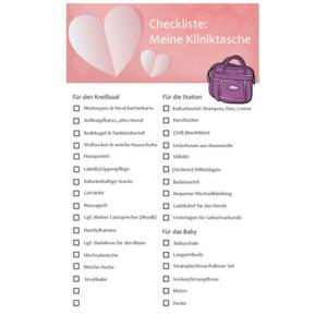 Checkliste für die Kliniktasche